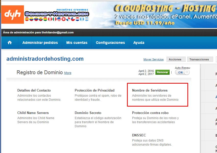 Dominio y Hosting Servidores