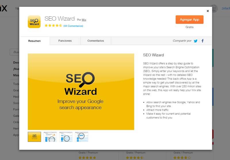 SEO Wizard - Posicionamiento Wix