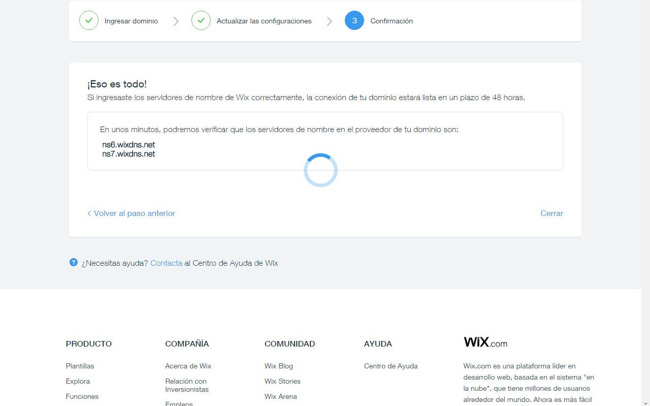 Wix Confirmación Dominio
